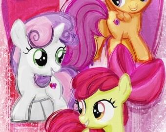 Cutie Mark Crusaders - Sweetie Belle, Apple Bloom, Scootaloo - My Little Pony Friendship is Magic Art Print Poster