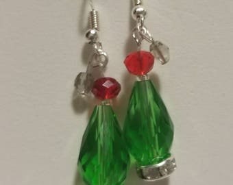 Christmas tree earrings, Red and green Christmas earrings, Santa hat Christmas earrings