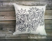 I F*cking Love You-COVER ONLY-Funny Pillow, Adult Coloring Pillow, Love Pillow, Valentine Pillow, Throw Pillow, Decor Pillow, Couch Cushion