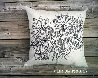 I F*cking Love You-COVER ONLY-Funny Pillow, Adult Coloring, Love Pillow, Valentine's Day Gift, Throw Pillow, Decor Pillow, Couch Cushion