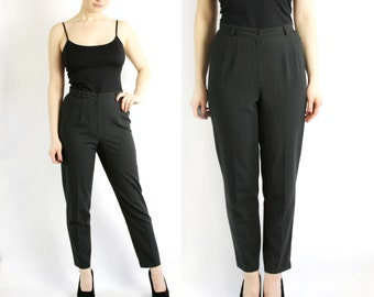Vintage 80's 90's Grey High Waisted Peg Leg Pants Trousers XS-S