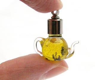 Teapot with tea pendant charm necklace decoration glass tea pot, teapot jewelry, teatime bijouterie, glass pendant, realistic tea charm