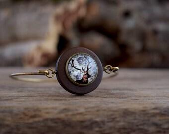 Deer bracelet, Browning deer antler bracelet, Deer head jewelry, Stag bracelet, Wood country bangle, Animal bracelet, Reindeer bangle WJ 001