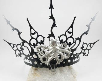 Octopus Tiara - Octopus Crown - Gothic Crown - Steampunk Crown - Steampunk Octopus Crown - Ursula Crown - Evil Sea Witch Crown
