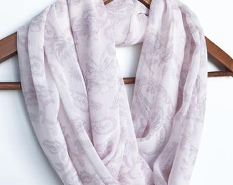 Blush Pink Scarf, Floral Scarf, Spring Scarf, Paisley Scarf,  Indoor Scarf, Transitional Scarf, Summer, Valentine's Gift, Gift For Mom