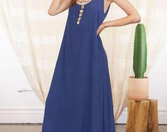 SALE Blue Maxi Dress | Blue Long Dress Maxi Boho Dress Free Shipping Casual Dress Maternity Dress Party Dress Beach Wedding Dress  DSU02