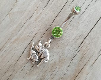 Elephant Belly Button Ring, Body Jewelry, Lucky Elephant Navel Ring, Body Jewelry, Belly Button Jewelry