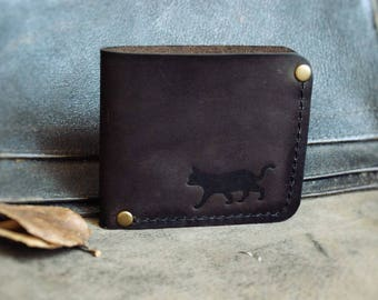 Genuine leather bifold Wallet Cat men's women's wallet