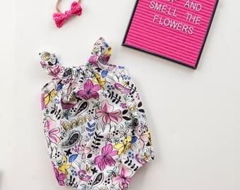 Baby Girl Romper, Bubble Romper, Toddler Romper, Floral Romper, Beach Romper, Summer Romper, Sunsuit, Baby Girl Gift, Flutter Sleeve
