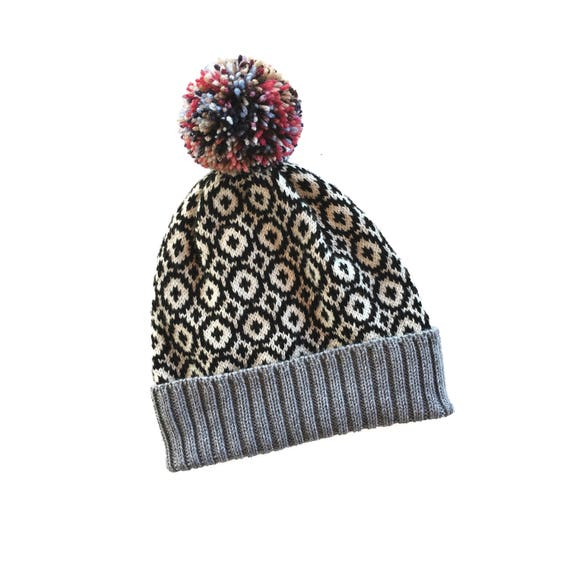 Knitted hat for men Beanie for men pompom beanie Fair isle