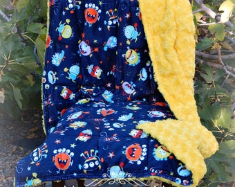 ALL Minky Child's Weighted Blanket 4-10 lbs - Scare Me Monster Print Minky Fabric/Canary Rose Cuddle Minky