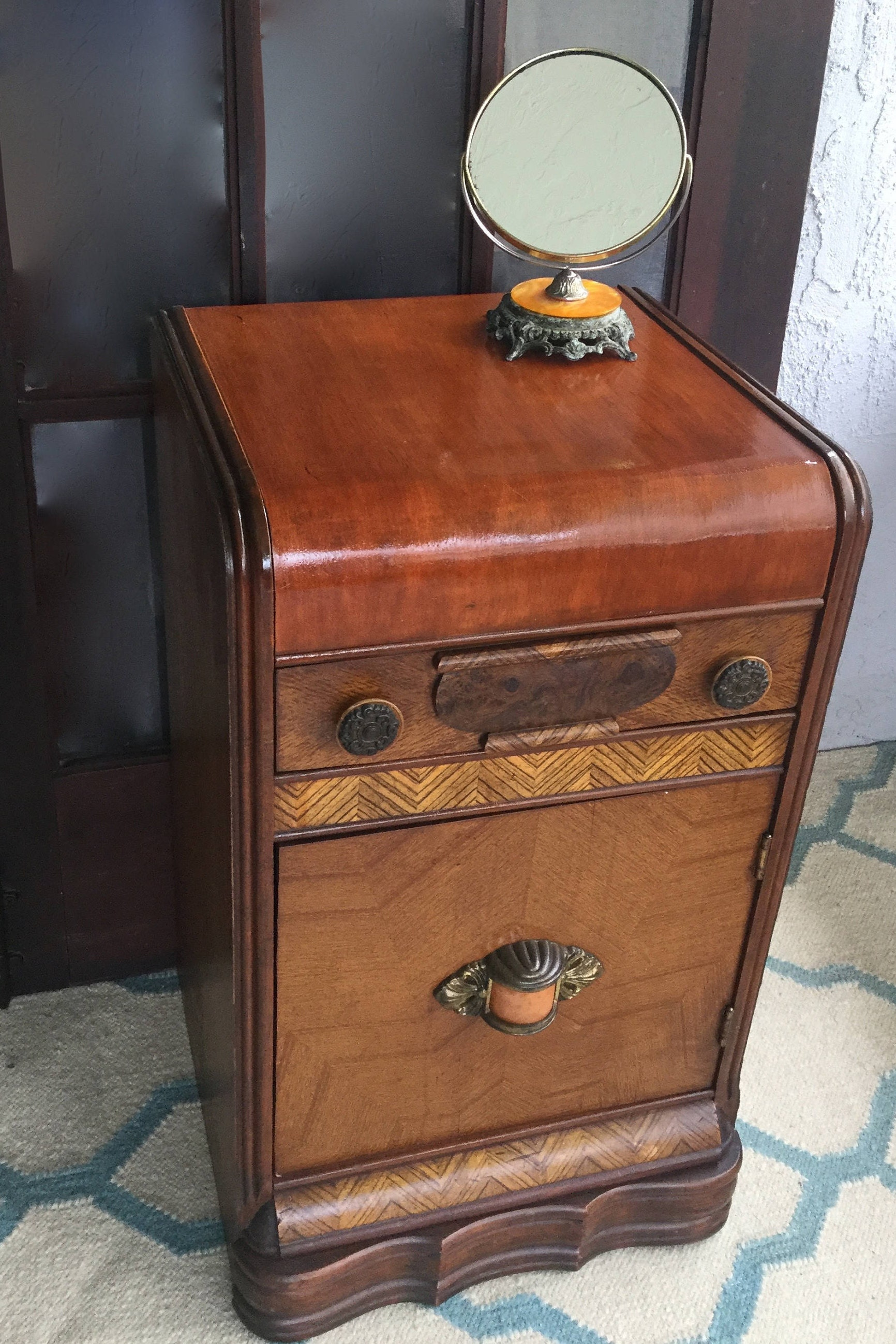 Antique Art Deco Wood Waterfall Nightstand End Table