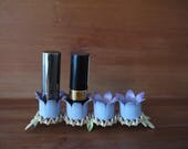 1950s / 1960s Vintage Floral Lipstick Holder. Holds 4 Lipstick Containers / Candles. Awesome Purple, Flower, Glam. Bedroom, Bathroom
