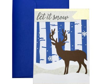 Handmade Winter Cards, Holiday Cards, Christmas Greeting Cards, Christmas Cards, Xmas Cards, Let it snow card