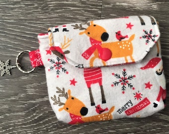 Christmas Key Chain Pouches, Key Ring Pouch, Coin Purse, Change Purse, Christmas Gift, Stocking Stuffer in Santa & Reindeer Print