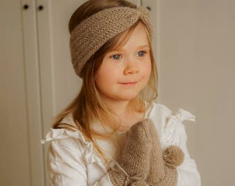KNITTING PATTERN mittens and headband set Avalon  (baby, child, adult sizes)