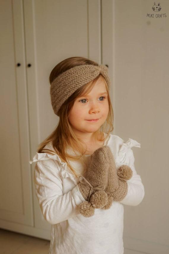 KNITTING PATTERN mittens and headband set Avalon  (baby, child, adult sizes)