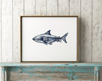 Shark Wall Art shark watercolor | etsy