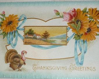 Turkey, Flowers and Scenic Vignette Antique Thanksgiving Postcard
