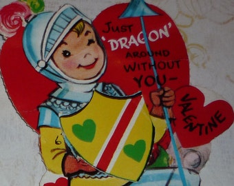 Knight in Shining Armor Vintage 1950s Valentine Card