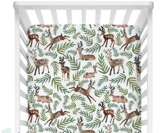 Watercolor Woodland Deer Baby Crib Fitted Sheet| Woodland Baby Boy Sheet | Deer Woodland Watercolor Crib Sheet | Deer Crib Sheet