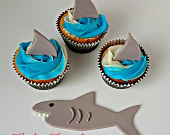 Shark Fin Fondant Cupcake Toppers, Shark Cake Topper, Shark Cake Decorations, Handmade Edible Shark Fins, Surf Cake, Pool Party, Beach Party
