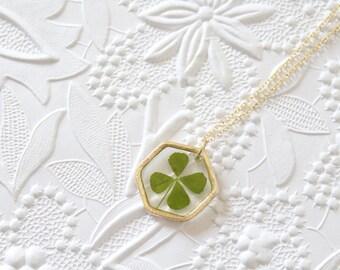 Four Leaf Clover Gold Hexagon Pressed Flower Necklace