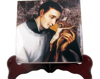 St Aloysius Gonzaga - catholic saints serie christian icon on tile handmade in Italy catholic saint - Saint Aloysius - patron saint Jesuit