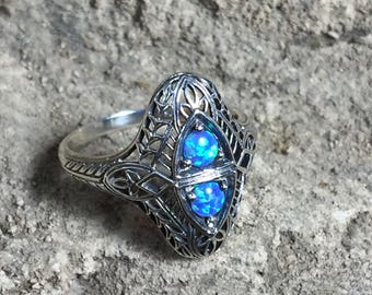 Blue Opal ring • Victorian Ring • Dainty ring • Art Deco ring • Art Nouveau ring • October Birthstone • Fire opal engagement ring • sz 8