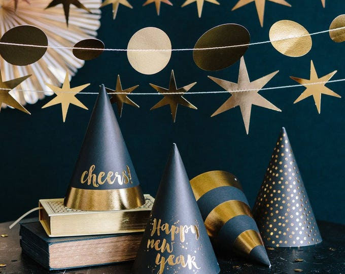 New Years Eve Hats, Black and Gold Party Hats, New Years Eve Party Decor, Holiday Party Ideas, New Years Party Favors, NYE508