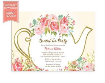Tea Party Invitation Template   Floral Teapot Bridal Shower   Baby Shower    Birthday Party