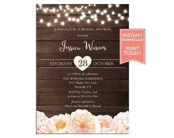 Country Bridal Shower Invitation Template - String Lights Wedding - Baby Shower - Birthday - Editable Instant Download Printable - LR1087