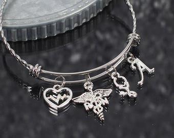 Nurse charm bracelet, RN LPN gift, registered nurse bracelet, licensed practical nurse jewelry, rn gift, lpn bracelet, personalized gift