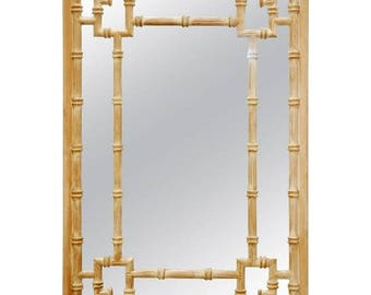 La Barge Style Hollywood Regency Faux Bamboo Mirror