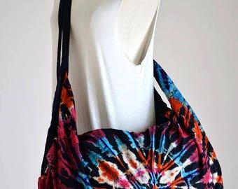 Tie Dye Cotton Bag Handbags Beach Bag Hippie Hobo Bag Boho Bag Shoulder Bag Sling Bag Messenger Bag Crossbody Purse, Firework M005