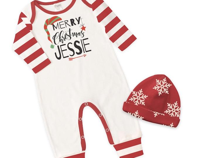 Personalized Newborn Christmas Romper, Red Baby Boy Girl Christmas Bodysuit, Custom Baby Name Christmas Romper, Xmas, Tesababe