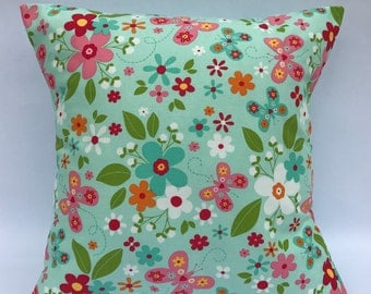 Floral cushion, floral pillow, flower and butterflies cushion, butterfly cushion, flowers pillow, girls pillow, girls cushion