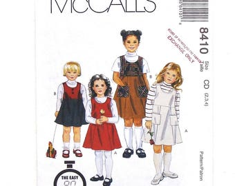McCall's Toddler Child's Jumper Sewing Pattern #8410 - UNCUT - Size 2+3+4 (Breast 21+22+23)