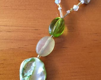 Green Seashell Necklace 18 inch