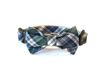 Blue & Green Plaid Dog Collar Bow Tie set, pet bow tie, collar bow tie, wedding bow tie
