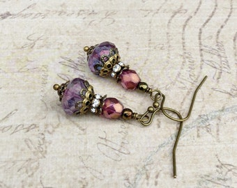 Amethyst Earrings, Purple Earrings, Victorian Earrings, Victorian Jewelry, Bridal Earrings, Czech Glass Beads, Womens Earrings,Gift for Her