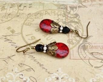 Red Earrings, Ruby Earrings, Ruby Red Earrings, Black Earrings, Czech Glass Beads, Victorian Earrings, Red Dangle Earrings, Gifts for Her