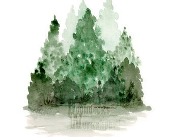 Tree Watercolor, Digital Download, Pine Trees, Watercolor Art, Cabin Decor, Tree Art, Forest Painting, Mountain Art, Instant Download