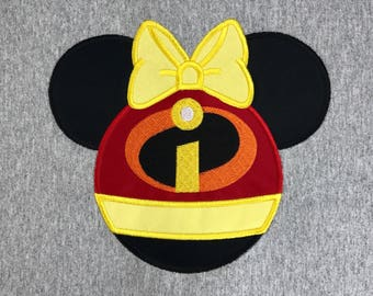 Ms INCREDIBLE 2 Mouse Head Inspired by The INCREDIBLES Embroidered and Appliqued T-Shirt for Children and Adults