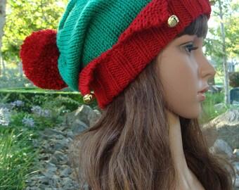 Santa's Little Elf knit hat with jingle bells and Pom-pom, Elf knit hat, Elf hat, Size Teen/Adult