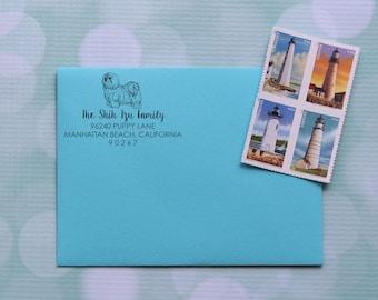 Dog Address Stamp, Shih Tzu Address Stamp, ShihTzu Dog Stamp, Self Inking Address Stamp, Family Address Stamp, 0056