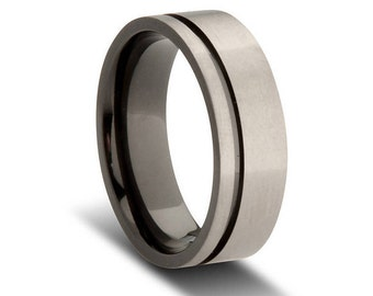Offset Striped Grey and Black Zirconium Wedding Ring