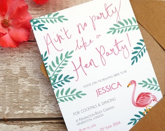 Tropical themed Hen Party Invites for the Bride & Guests