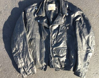 Vtg Black Leather Biker Jacket - Small Mens - 38 - Vintage Clothing - Motorcycle Jacket - Excelled USA - Made in America - Menswear -