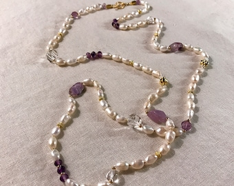 Amethyst and Pearl Lariat Necklace
